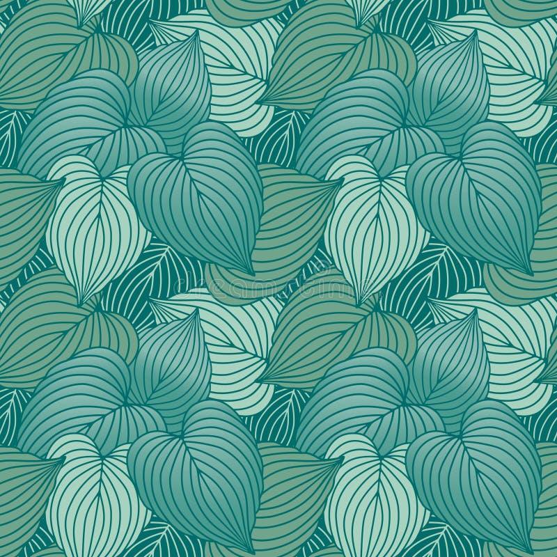 błękitny zieleni hosta liść wzór ilustracja wektor