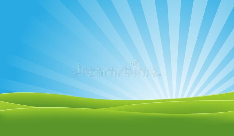 błękitny zieleni krajobraz ilustracja wektor