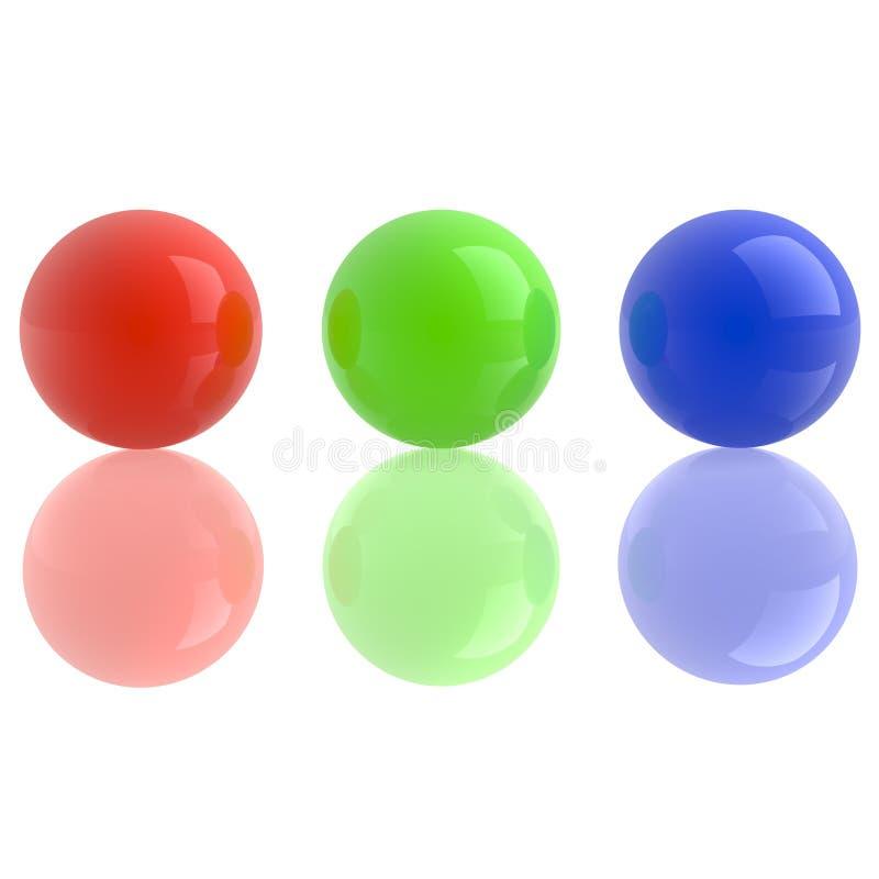 błękitny zieleni odosobnione czerwone sfery biały zdjęcia royalty free
