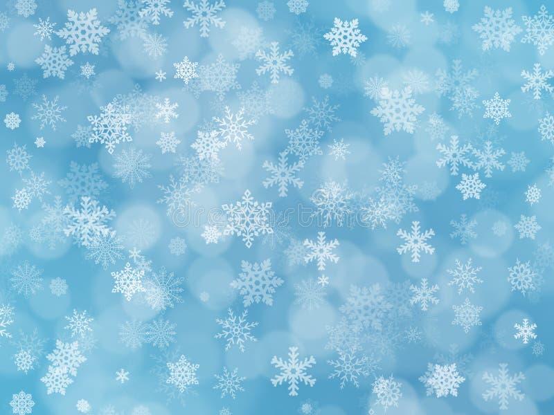 Błękitny zimy boke tło z płatkami śniegu ilustracja wektor
