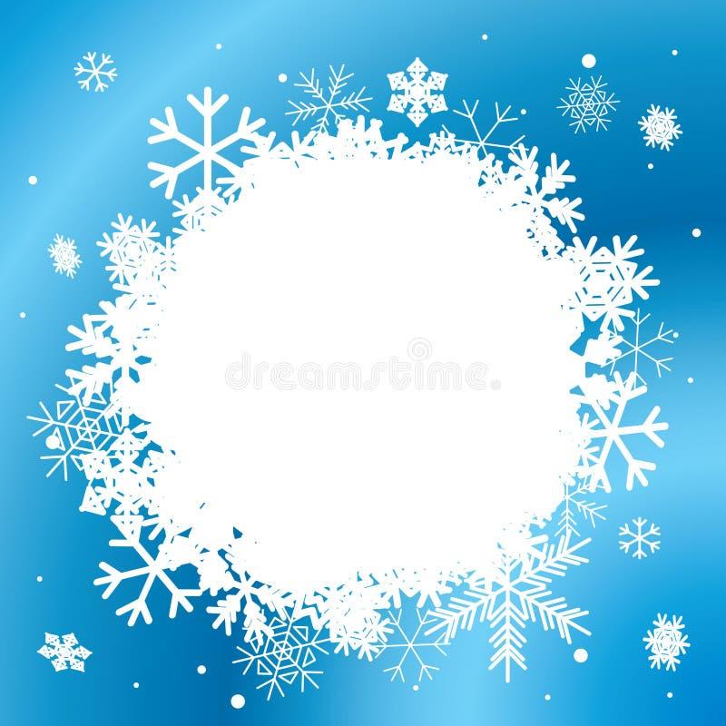 Błękitny zimy tło z białymi płatkami śniegu ilustracja wektor