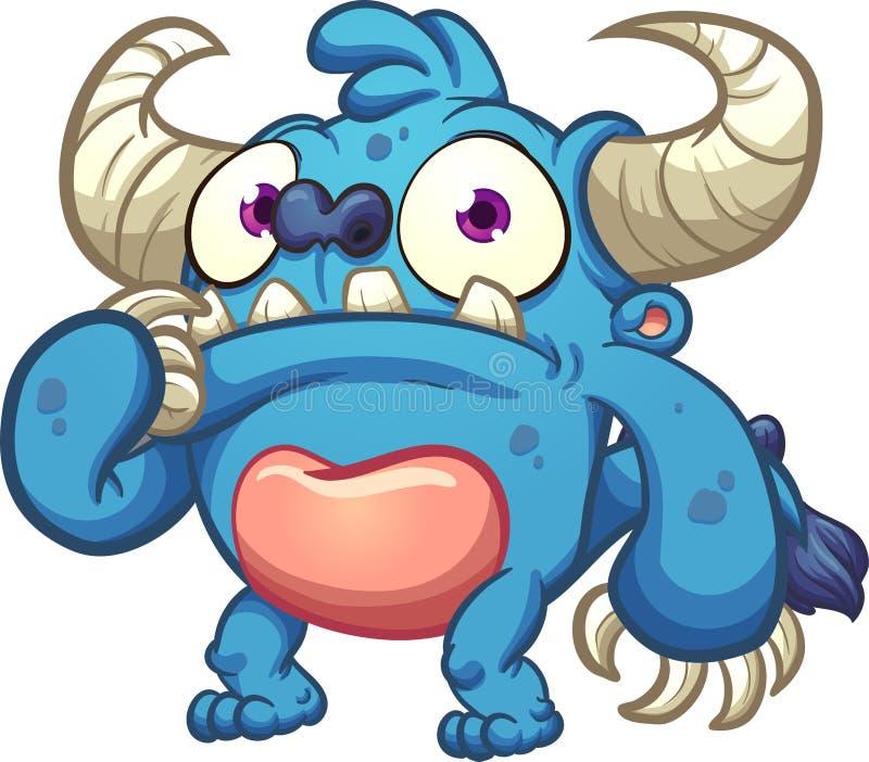 Błękitny zmartwiony potwór ilustracji