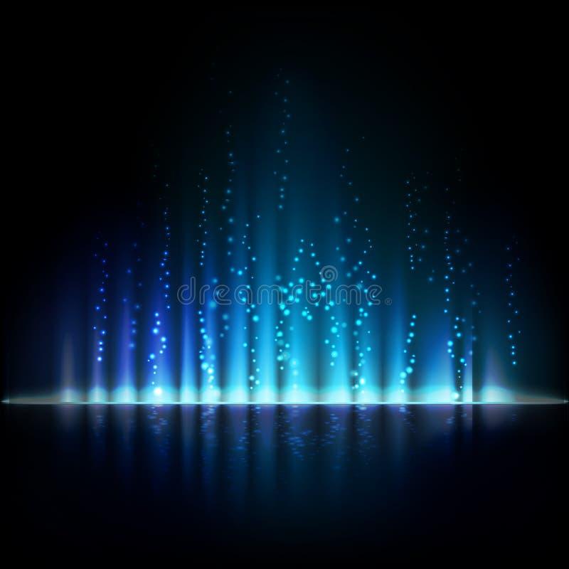 Błękitny zorzy światło abstrakcjonistyczni położenie tła ilustracji