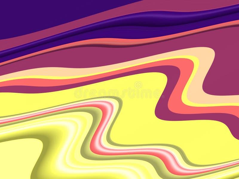 Błękitnych żółtych purpur menchii rzadkopłynni kształty, geometrii tło na czarnym tle royalty ilustracja