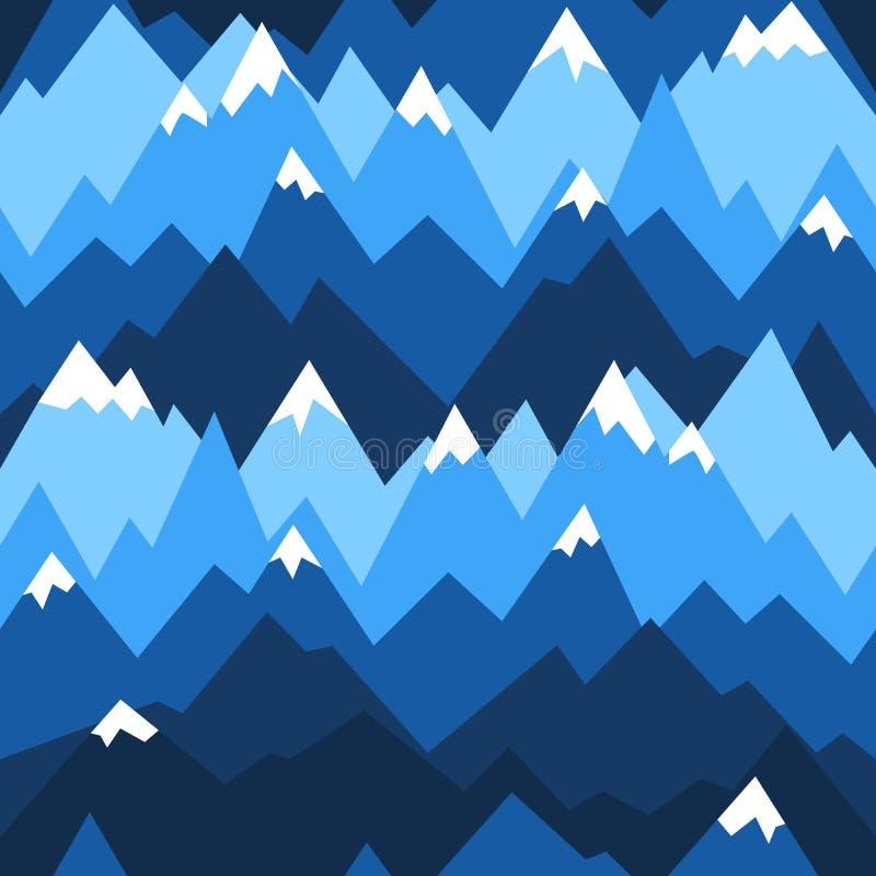 Błękitnych gór bezszwowy wzór Wektorowy tło dla wycieczkować i plenerowy pojęcia royalty ilustracja