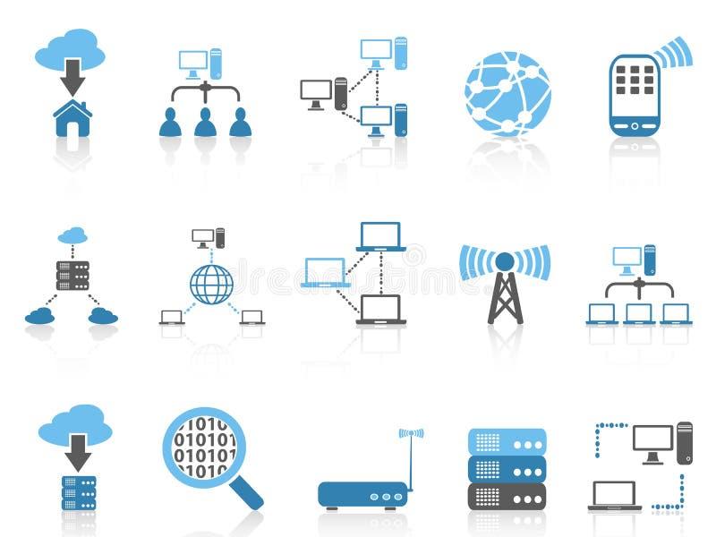 Błękitnych kolor serii komputerowe komunikacyjne ikony ustawiać ilustracja wektor