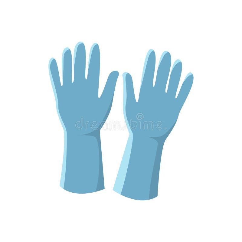Błękitnych lateksowych rękawiczek wektorowa ilustracja odizolowywająca na białym backgrou royalty ilustracja