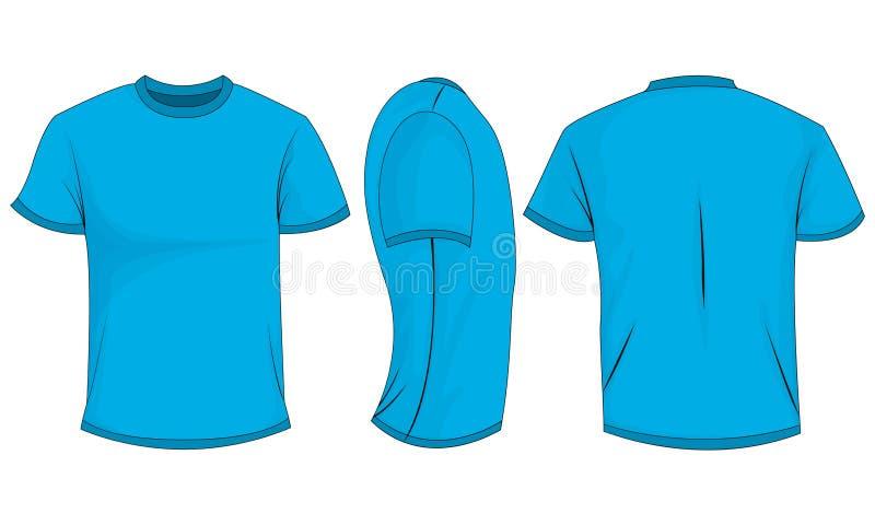 Błękitnych mężczyzn koszulka z krótkimi rękawami przód, plecy, boczny widok pojedynczy białe tło ilustracja wektor