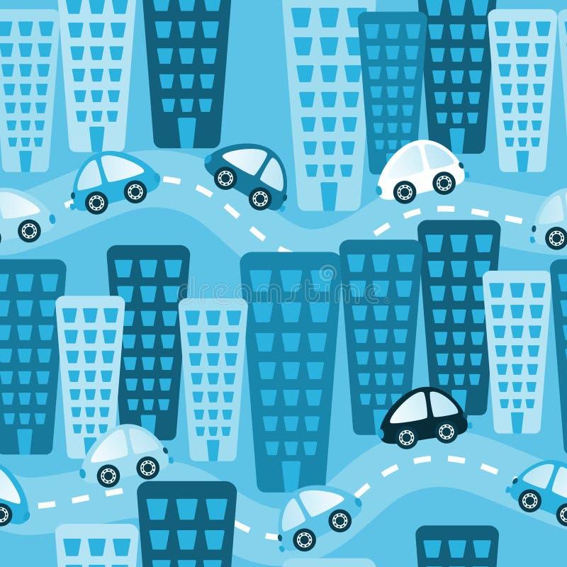 Błękitnych miasto zabawki samochodów Bezszwowy tło ilustracja wektor