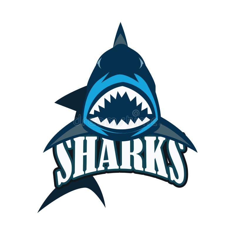 Błękitnych rekinów logo z tekst przestrzenią dla sloganu, etykietki linii twój/ ilustracji