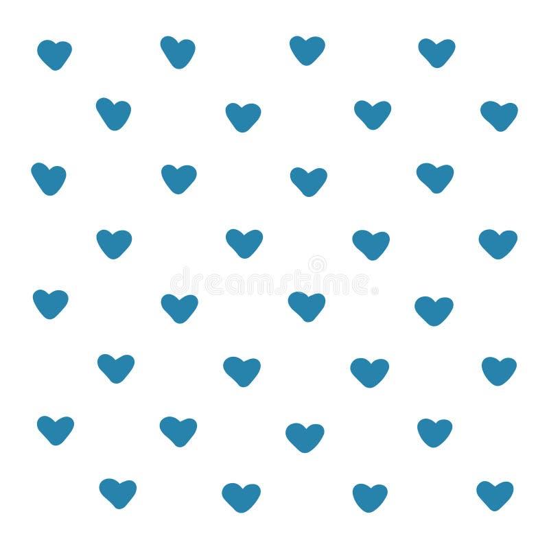 Błękitnych serc tła deseniowa ilustracja Śliczny wektorowy romantyczny serce dla pocztówki, plakatowy projekta opakunkowego papie ilustracja wektor