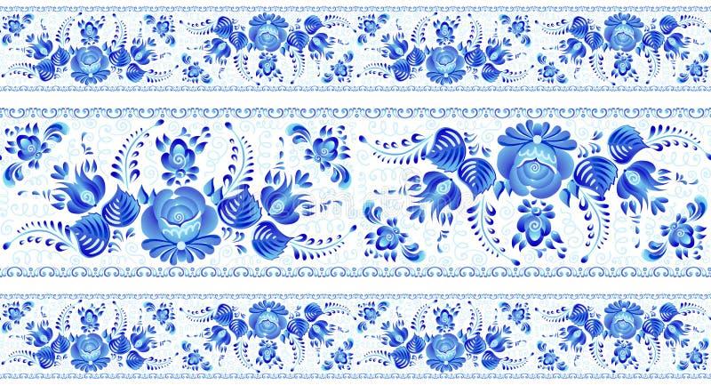 Błękity malujący kwiaty w Rosyjskiego gzhel stylu wektorowych bezszwowych liniach deseniują granicy ustawiać na białym tle ilustracja wektor