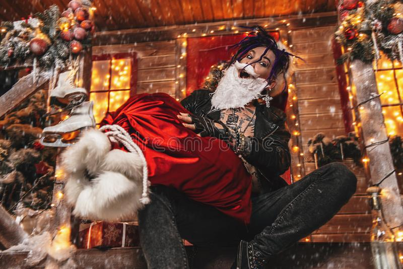 Błaźnić się wokoło Santa obraz stock