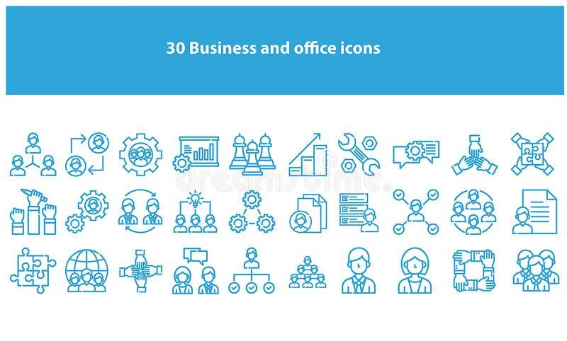 Bławe wektorowe biznesowe i biurowe ikony royalty ilustracja