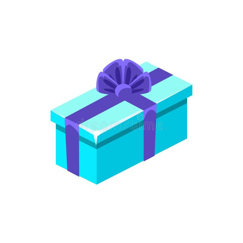 Bławy Z zmrokiem - błękitny łęku prezenta pudełko Z teraźniejszością, Dekoracyjny Zawijający Kartonowy świętowanie Giftbox royalty ilustracja