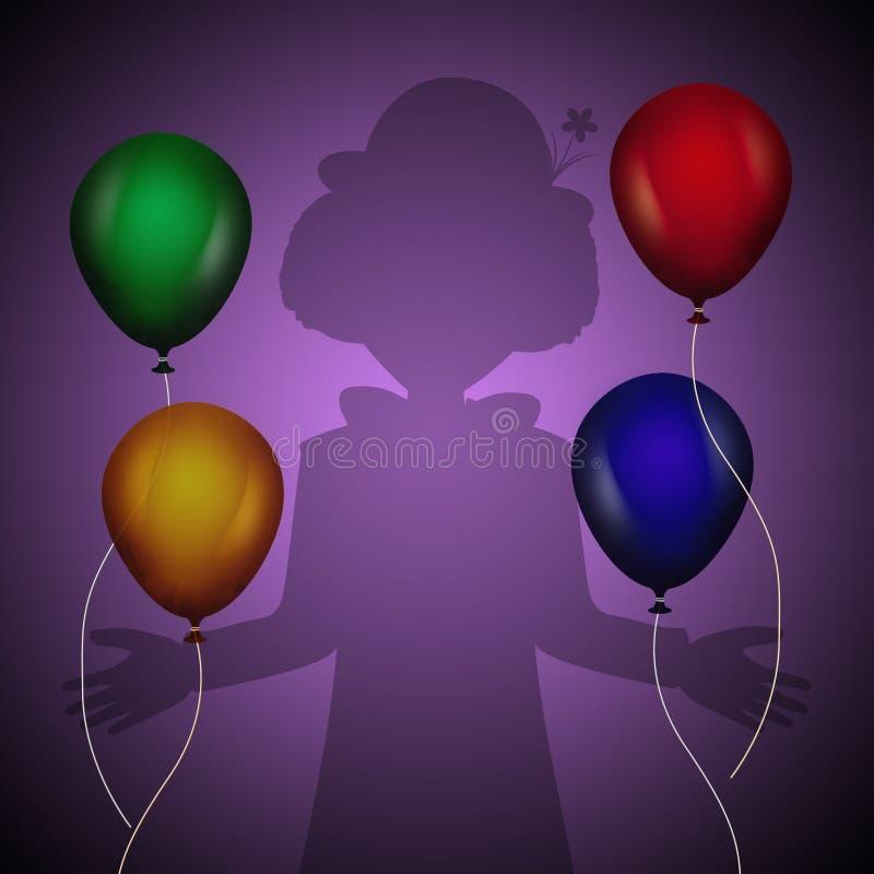 Błazenów balony i cień ilustracji
