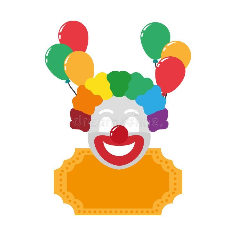 Błazen cyrkowa rozrywka z dekoracja balonami royalty ilustracja
