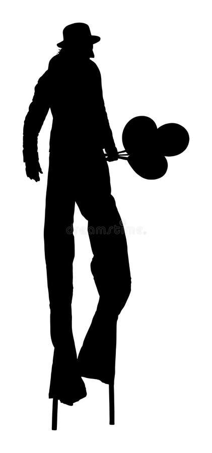 Błazen na stilts z balonu wektoru sylwetką Juggler artysty animatora wektor Błazen w cyrku royalty ilustracja
