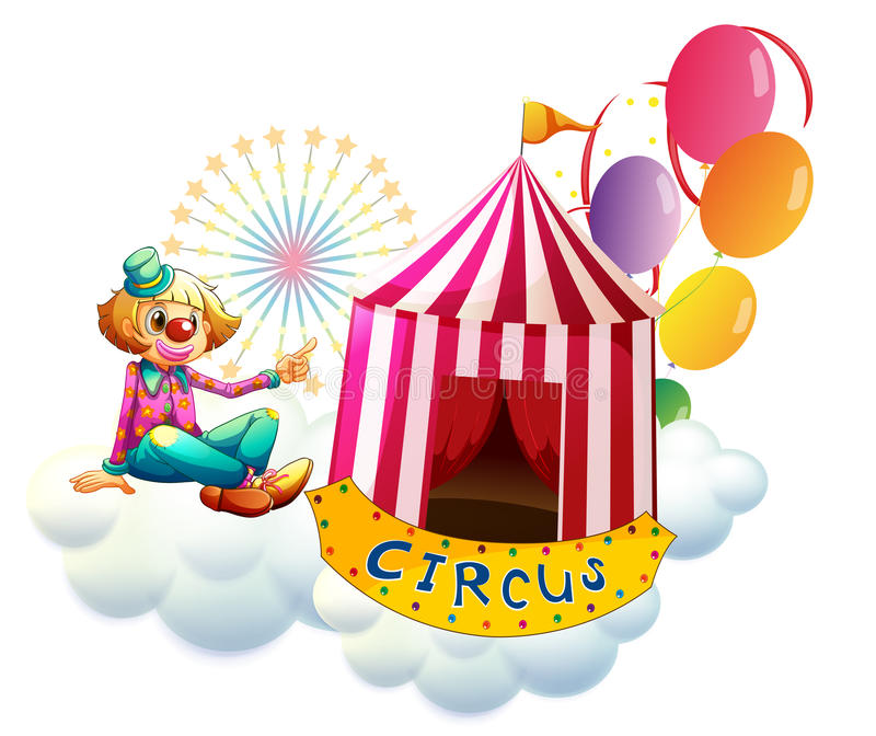 Błazen obok cyrkowego namiotu z balonami ilustracja wektor
