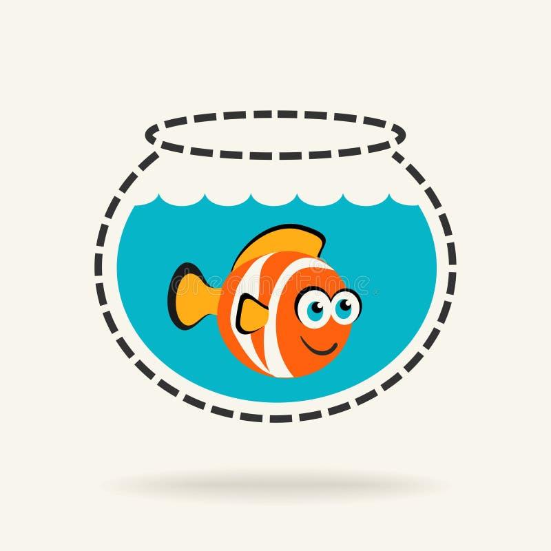 Błazen ryba w Fishbowl royalty ilustracja