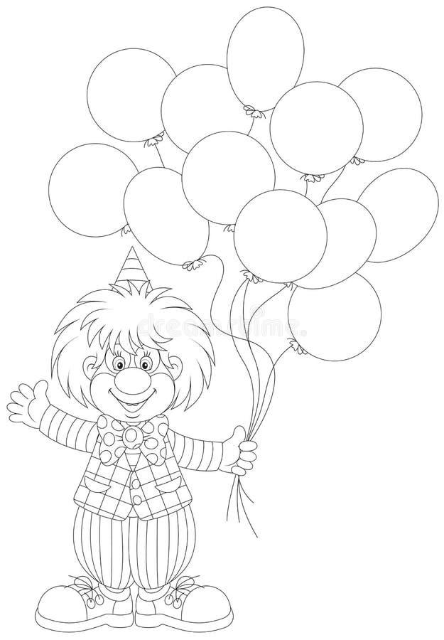 Błazen z balonami royalty ilustracja