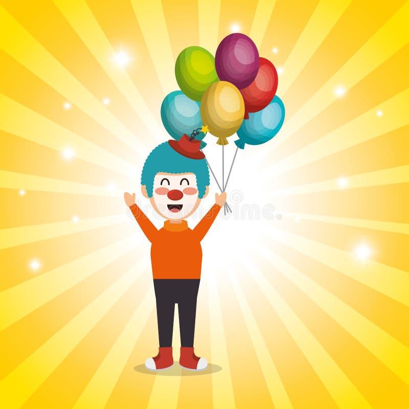 Błazen z balonu lotniczym cyrkowym przedstawieniem royalty ilustracja