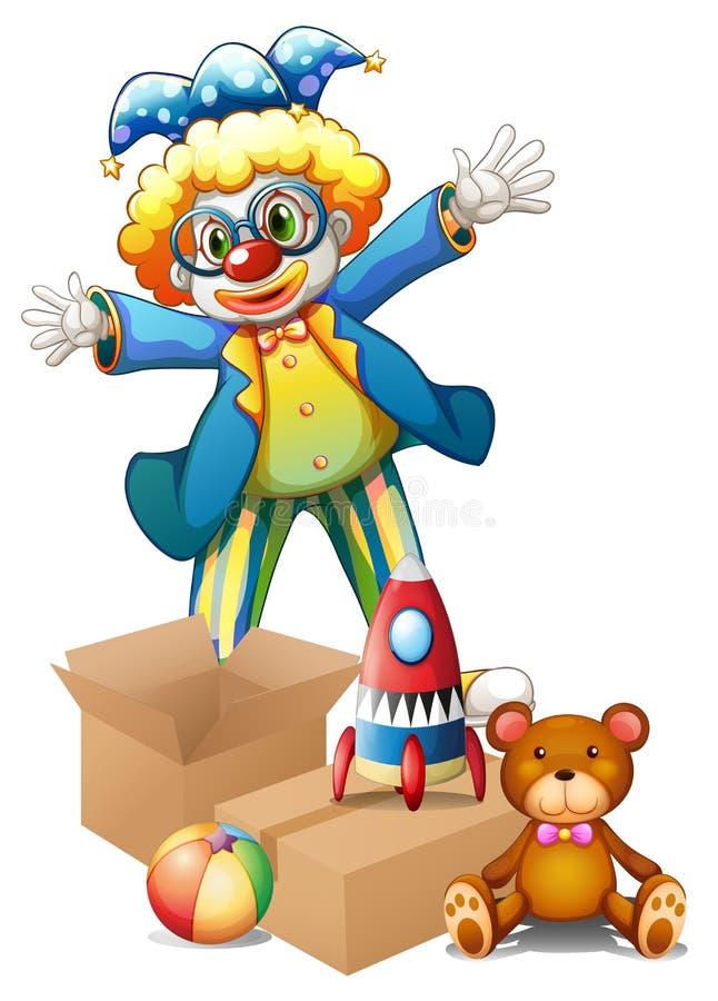 Błazen z zabawkami royalty ilustracja
