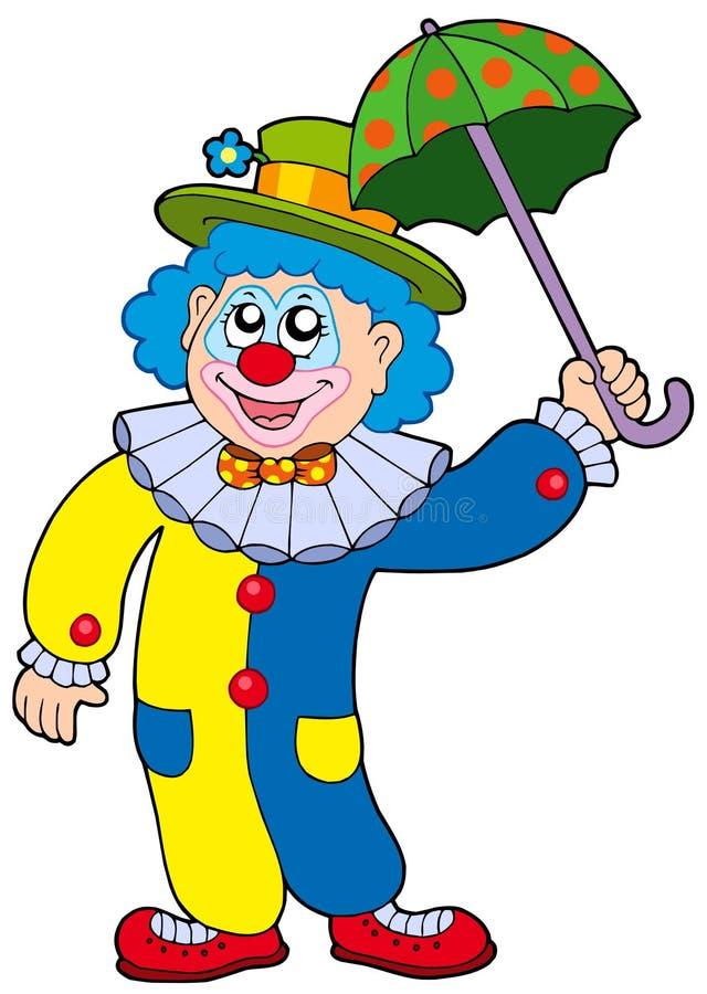 błazenu śmieszny mienia parasol ilustracja wektor