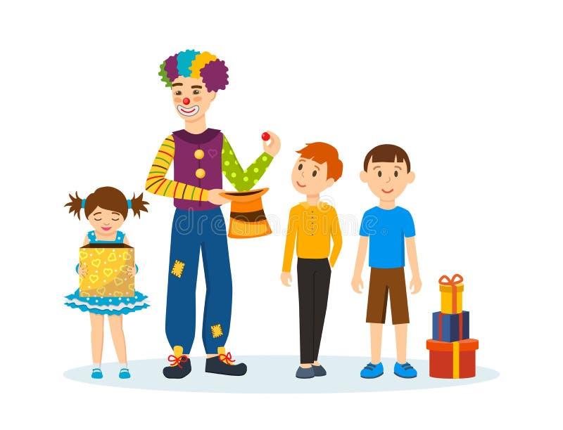 Błazenu animator, pokazuje sztuczki i sceny śmieszy dzieci i zachwyca, ilustracji