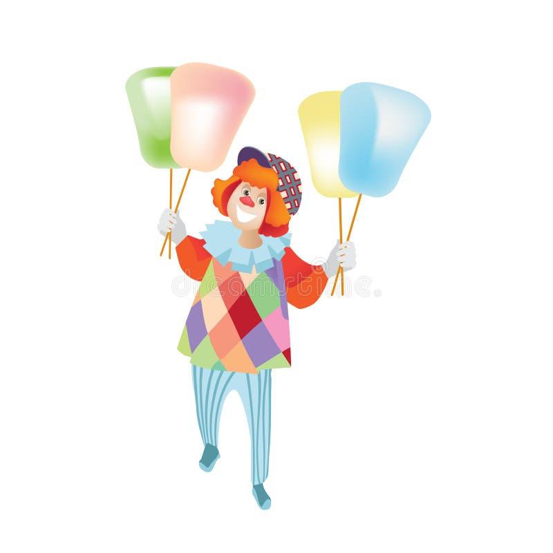 Błazenu animator w świątecznych ubraniach, śmieszy ludzi, zakłóca słodką bawełnę ilustracji