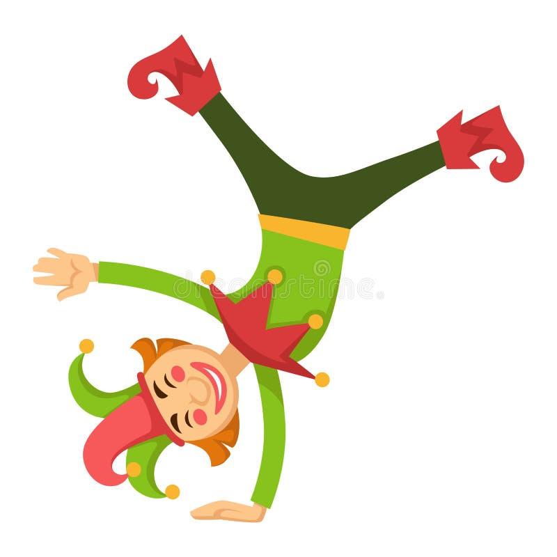 Błazenu dowcipniś w cyrkowym pociesznym do góry nogami wektorowym postać z kreskówki odizolowywał ikonę ilustracji