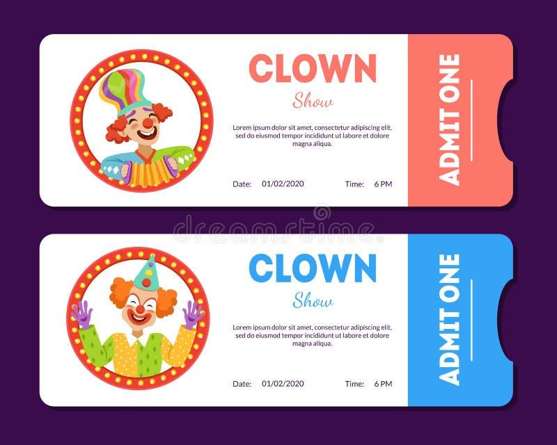 Błazenu przedstawienia bilety Ustawiający, cyrk Gręplują szablony z Śmieszną błazenu wektoru ilustracją royalty ilustracja