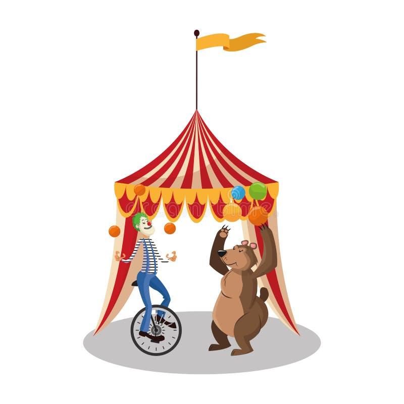 Błaznuje i niedźwiedź cyrk i karnawałowy projekt ilustracja wektor