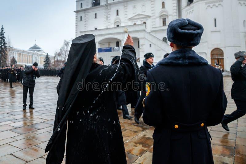 Błogosławić oddziałów wojskowych Prezydencki pułk usługa Moskwa Kremlin's Commandant fotografia stock
