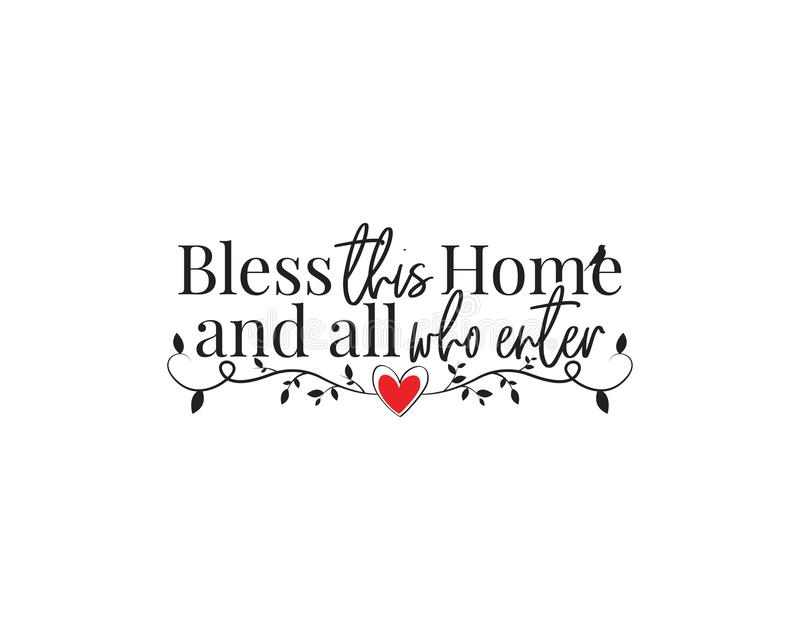 Błogosławi dom, wektor, Formułuje projekt, błogosławieństwo, literowanie, Ścienny Decals wektor, sztuka wystrój, Plakatowy projek ilustracji