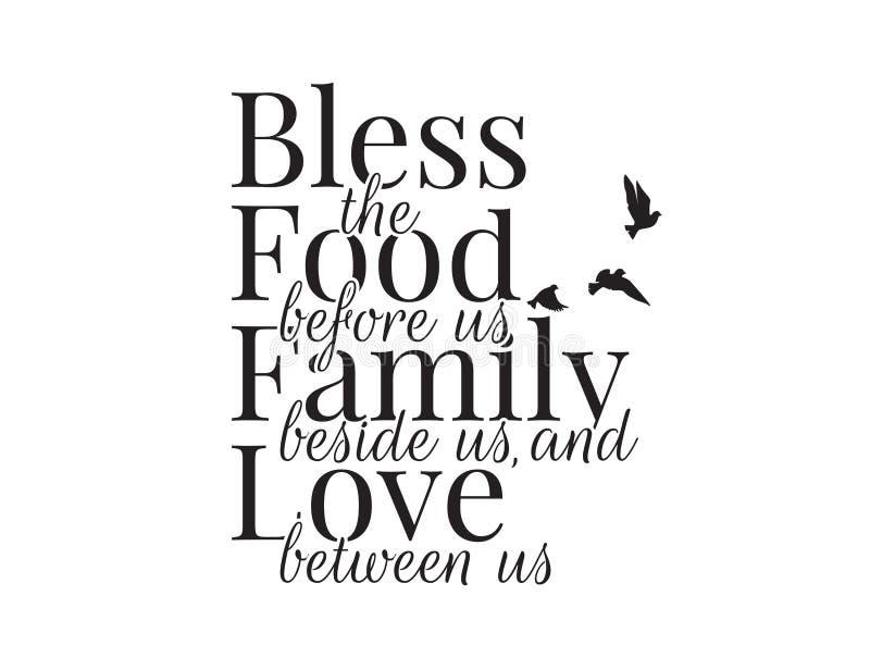 Błogosławi jedzenie przed my, rodziną obok my i miłością między my, Formułujący projekt, błogosławieństwo, literowanie, Ścienni D ilustracja wektor