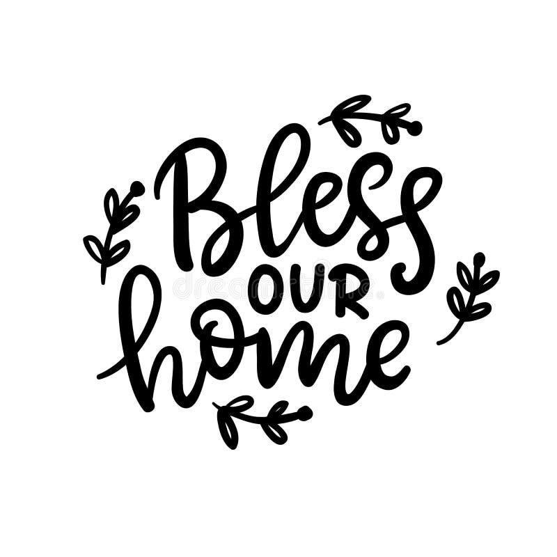 Błogosławi nasz domowego zwrot, odosobnionego na bielu Dziękczynienie dnia literowanie ilustracja wektor