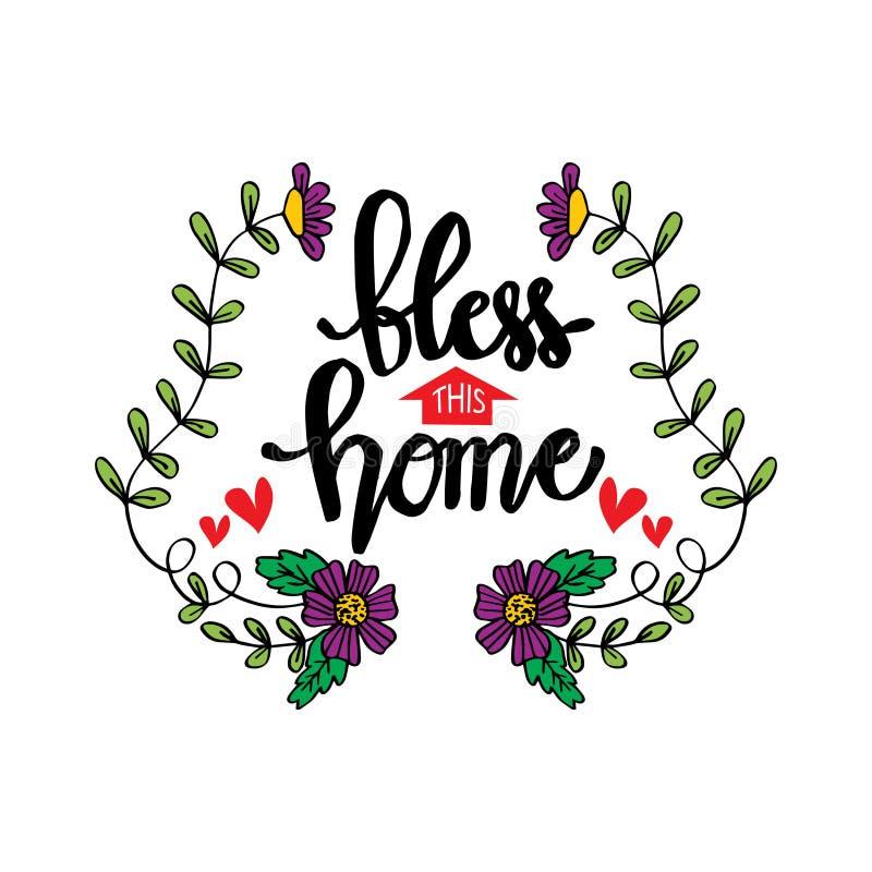 Błogosławi to domowy ręki literowanie ilustracji