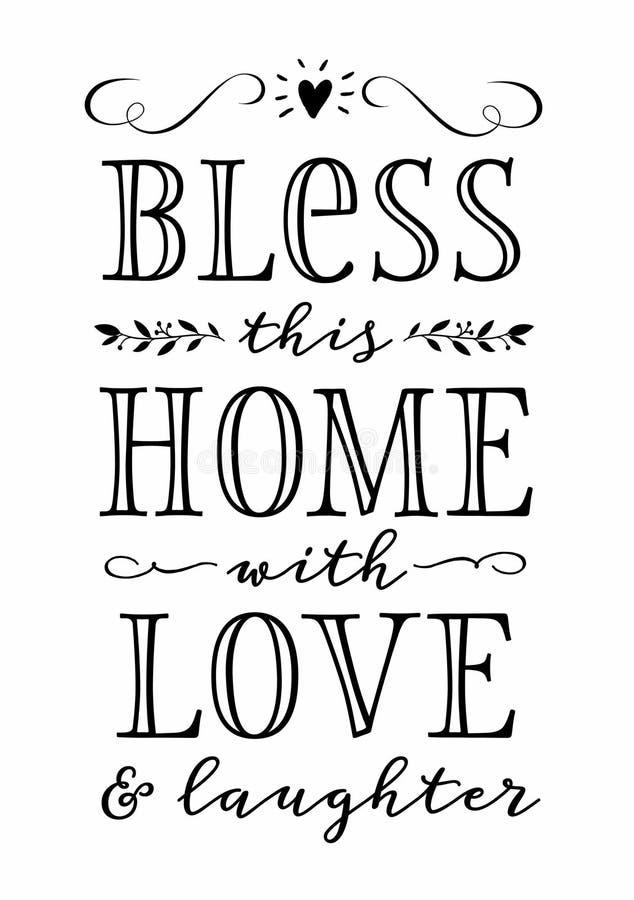 Błogosławi to z miłością i śmiechem Do domu ilustracja wektor