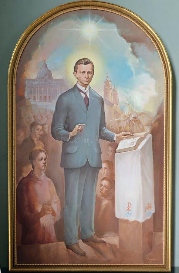 Błogosławiony Ivan Merz, altarpiece w bazylice Święty serce Jezus w Zagreb zdjęcia royalty free