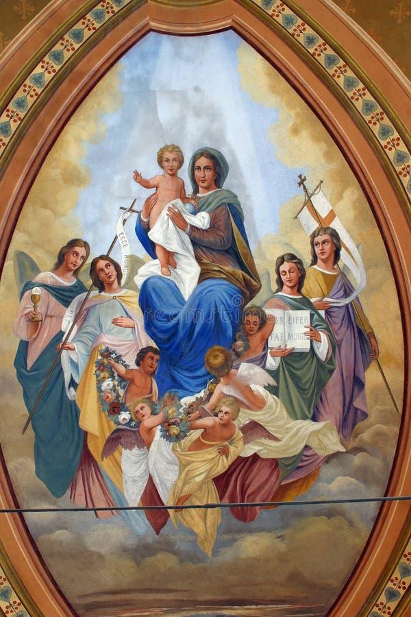 Błogosławiony maryja dziewica z dzieckiem Jezus, świętymi i aniołami, obrazy royalty free