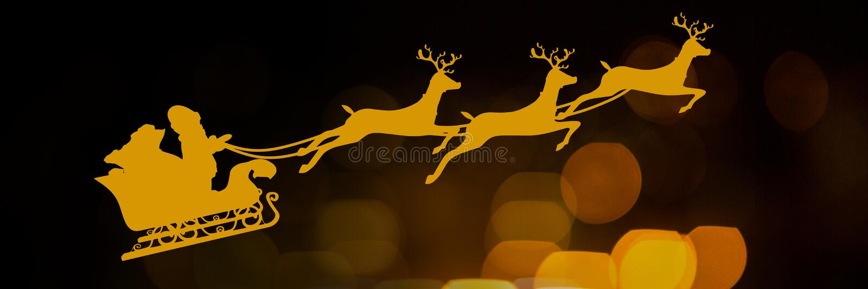 Błyskać zaświeca z Santa ` s saniem s i renifera ` ilustracja wektor