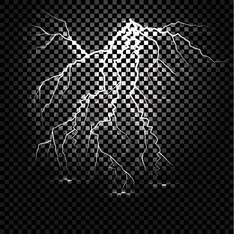 Błyskawica błysku światła grzmotu iskra na przejrzystym tle fotografia stock