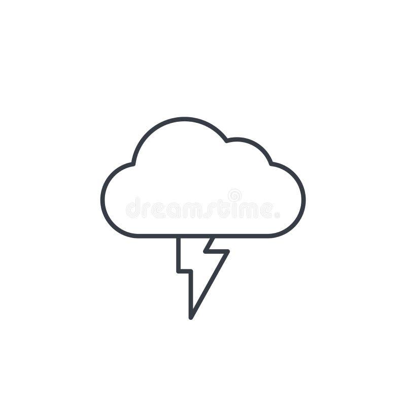 Błyskawica, burzy chmura, pogody cienka kreskowa ikona Liniowy wektorowy symbol ilustracja wektor