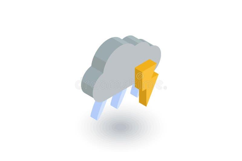 Błyskawica, grzmot burza, deszcz i obłoczna isometric płaska ikona, 3d wektor ilustracja wektor