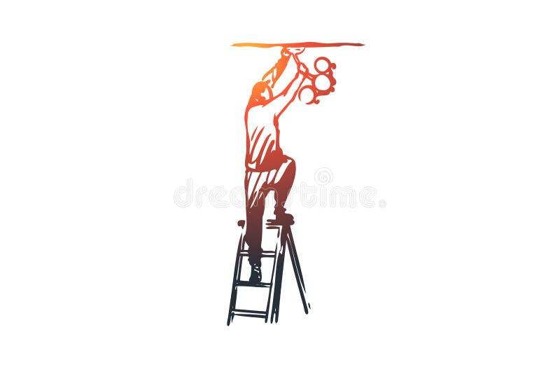 Błyskawica, installer, świecznik, elektryka pojęcie Ręka rysujący odosobniony wektor ilustracja wektor