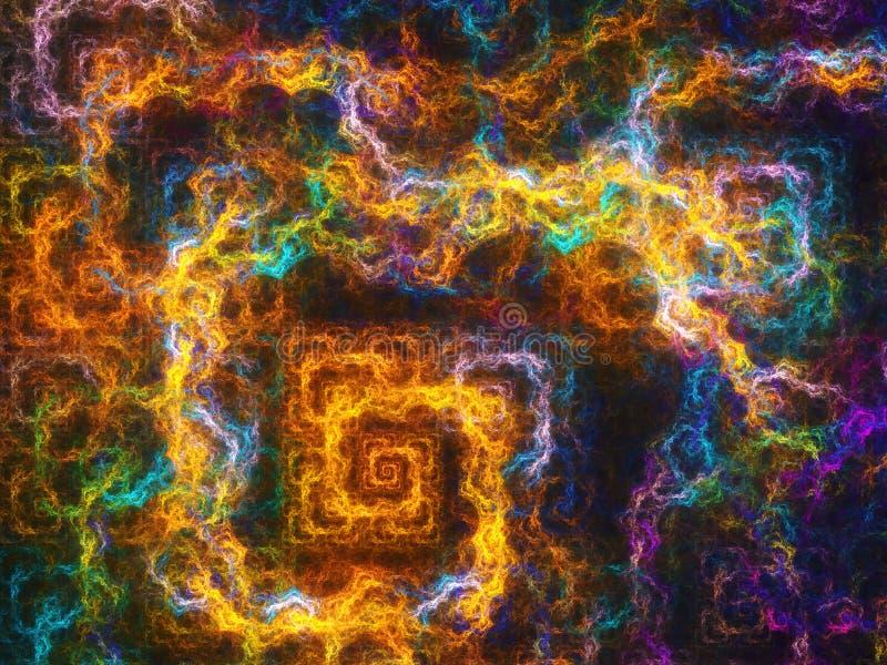 Błyskawica kształtujący barwiony fractal nad czarnym tłem obrazy stock
