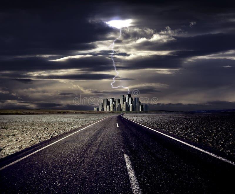 błyskawicowa miasto droga obrazy royalty free