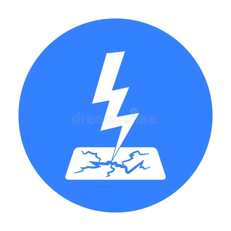 Błyskawicowego rygla ikona w czerń stylu odizolowywającym na białym tle Pogodowego symbolu zapasu wektoru ilustracja ilustracja wektor