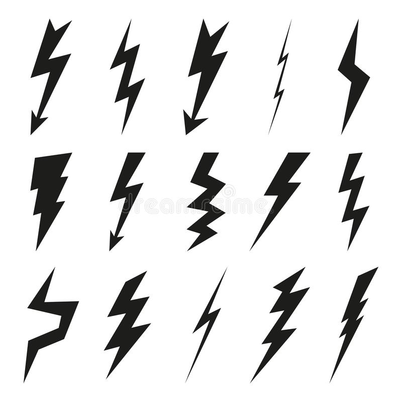 Błyskawicowy ikona set Elektryczność grzmot i niebezpieczeństwo symbol Uderzenie pioruna, błysk i strzałkowate czarne ikony odizo ilustracja wektor